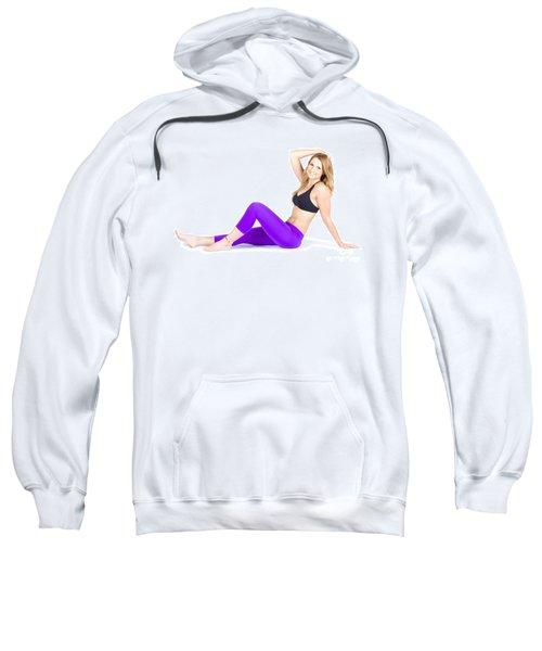 Happy Smiling Woman Exercising On White Background Sweatshirt