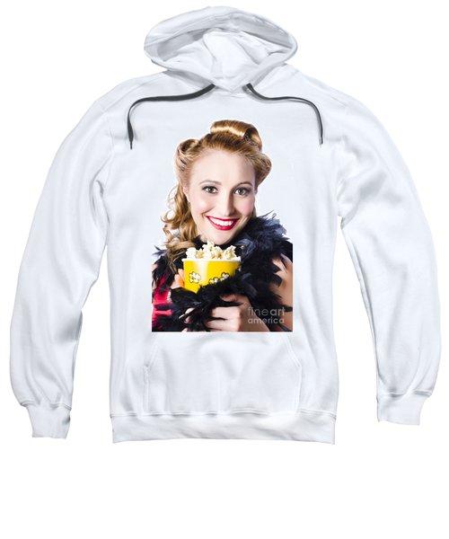Portrait Of Woman With Popcorn Sweatshirt