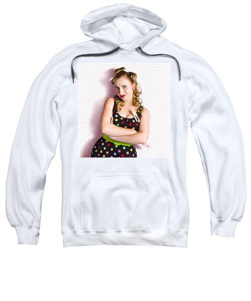 Pretty Retro Cleaning Lady On Polka Dot Background Sweatshirt