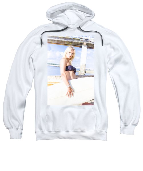 Sports Person Carrying Surf Board Outdoors Sweatshirt