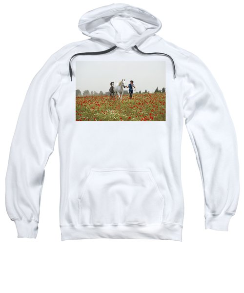 Sweatshirt featuring the photograph Three At The Poppies' Field... 3 by Dubi Roman