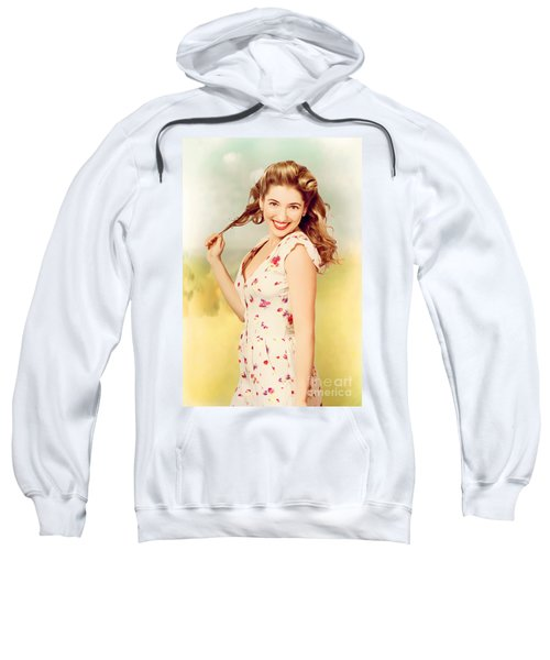 Vintage Pinup Woman With Pretty Make-up And Hair Sweatshirt