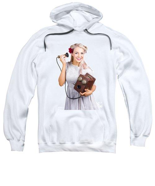 Woman Using Antique Telephone Sweatshirt