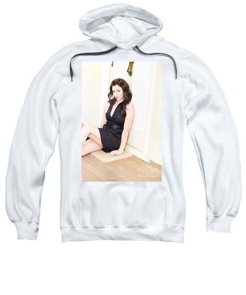 Young Woman Waiting By A House Door Sweatshirt