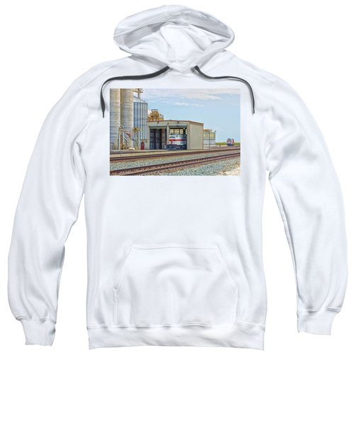 Sweatshirt featuring the photograph Foster Farms Locomotives by Jim Thompson