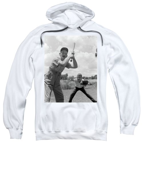 1950s Grandfather At Bat With Grandson Sweatshirt