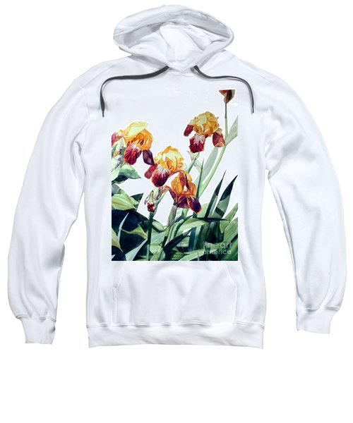 Watercolor Of Tall Bearded Irises I Call Iris La Vergine Degli Angeli Verdi Sweatshirt