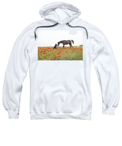 Sweatshirt featuring the photograph Three At The Poppies' Field... 4 by Dubi Roman