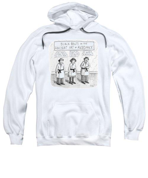 3 Middle-aged People In Karate Uniforms -- Black Sweatshirt