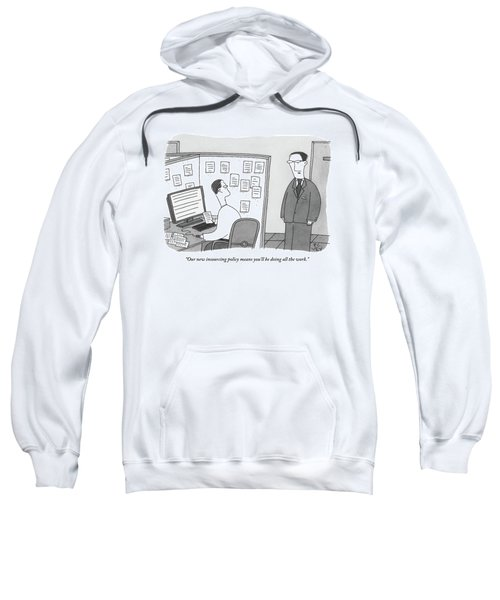 A Boss Speaks To A Man In His Cubicle As The Man Sweatshirt