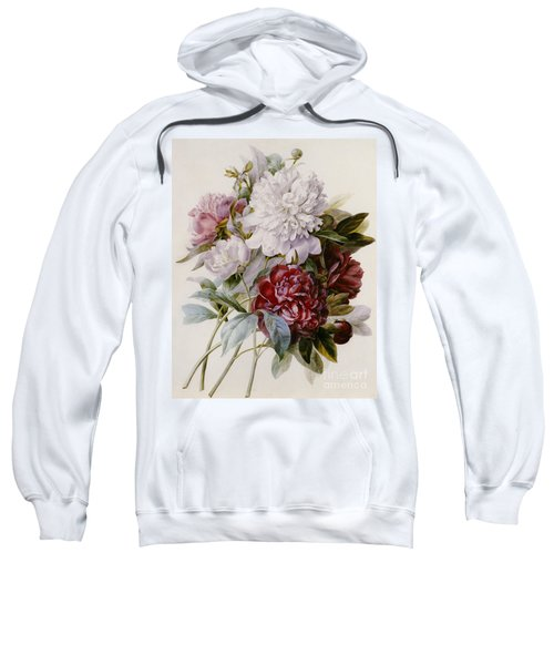A Bouquet Of Red Pink And White Peonies Sweatshirt