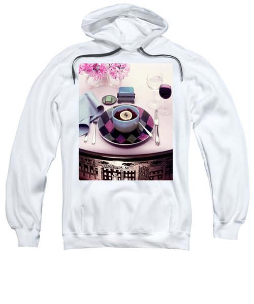 A Bowl Of Food On A Pink Table Sweatshirt