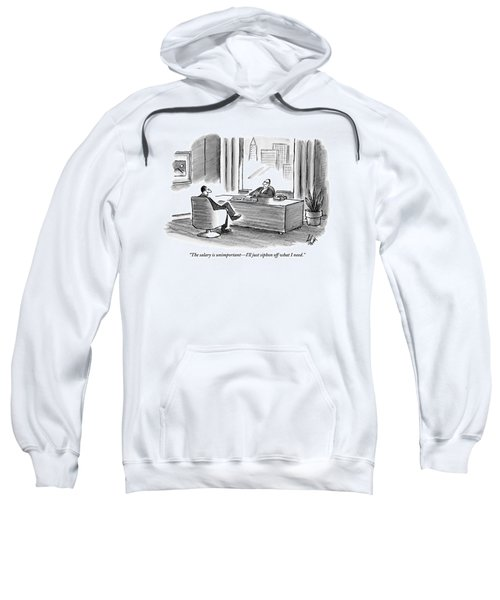 A Businessman Discusses His Salary With A Man Sweatshirt