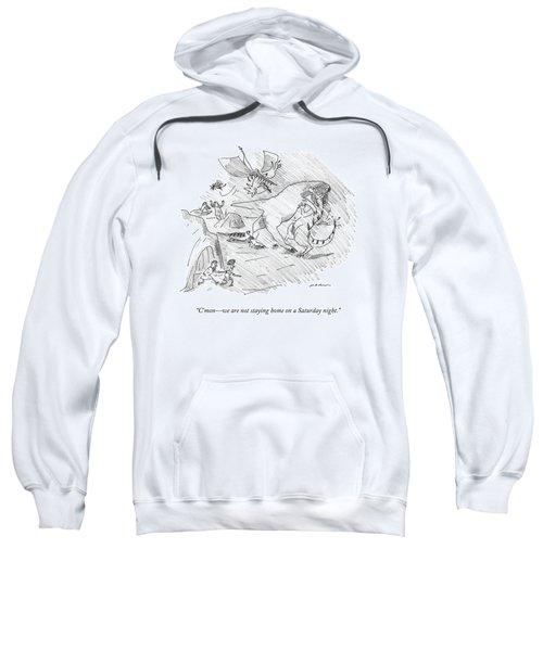 A Cavewoman Leading A Man Outside Even Though Sweatshirt