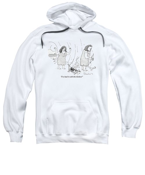 A Cavewoman Raises Her Arms In Anger Sweatshirt