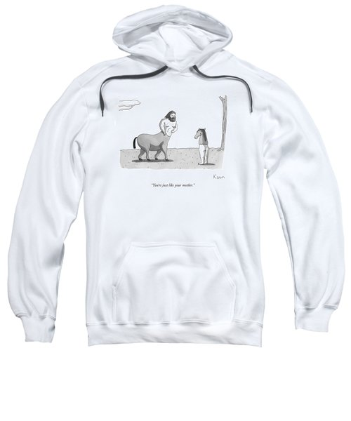 A Centaur Angrily Talks To A Creature Who Sweatshirt by Zachary Kanin