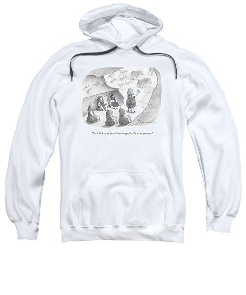 A Circle Of Cavemen Sit Around One Caveman Who Sweatshirt