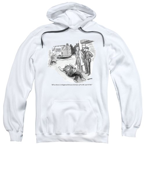 A Cop And A Detective Stand Over The Face-down Sweatshirt