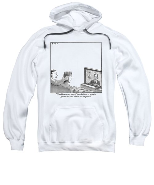 A Couple Are Sitting On A Couch Late At Night Sweatshirt