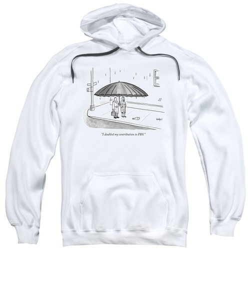 A Couple Under A Gigantic Umbrella On A City Sweatshirt
