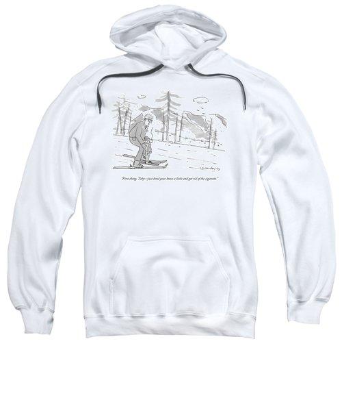 A Father Teaches His Son To Ski. The Son Sweatshirt