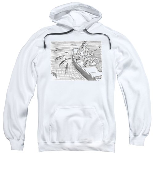 A Fisherman On A Rowboat Looks At The Fish Sweatshirt
