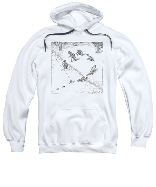 A Fisherman Wading In The Water  Catches A Fish Sweatshirt