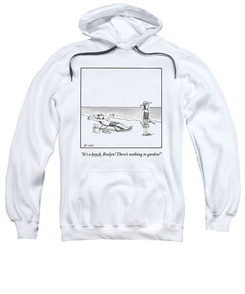 A Frustrated Man Speaks To His Wife On The Sweatshirt