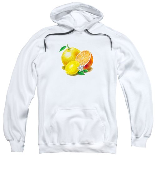 Sweatshirt featuring the painting A Happy Citrus Bunch Grapefruit Lemon Orange by Irina Sztukowski