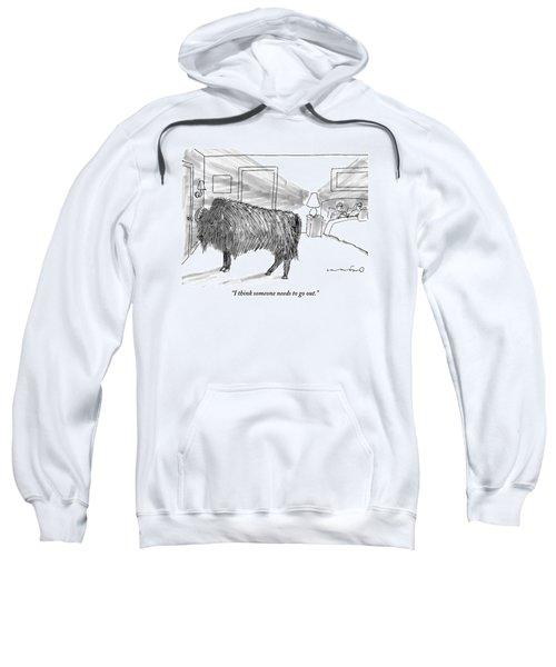 A Large Buffalo Stands Near The Door Sweatshirt