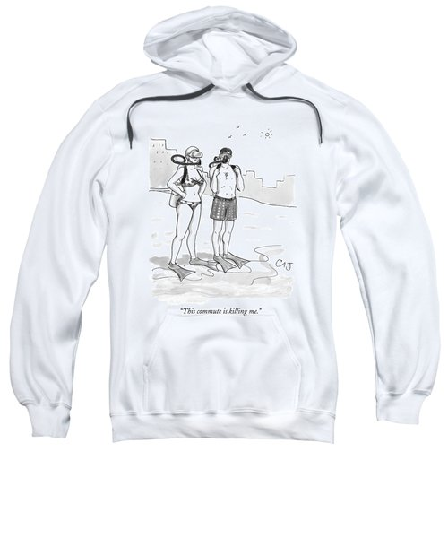 A Man And A Woman In Swimsuits And Diving Gear Sweatshirt