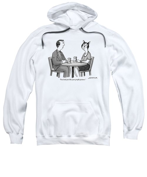 A Man And A Woman With A Cat Head Are Having Sweatshirt
