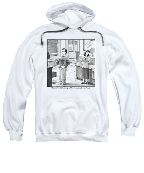 A Man And Woman Are Getting Dressed In A Room Sweatshirt