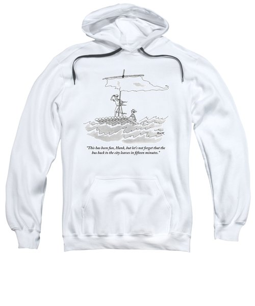 A Man And Woman Are Seen On A Raft With A Sail Sweatshirt