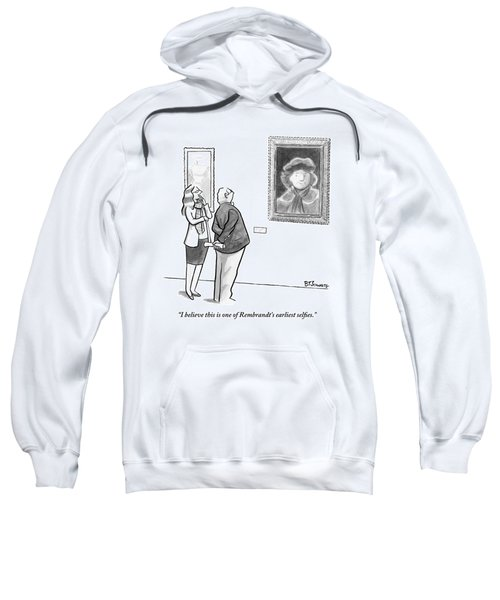 A Man And Woman Stand In A Museum Looking Sweatshirt