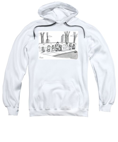 A Man Holding A Syringe Sits At A Stand Sweatshirt