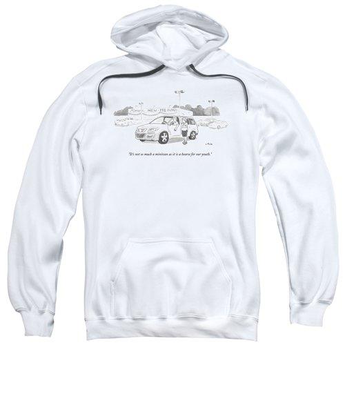 A Man In A Minivan Speaks To A Woman At A Car Sweatshirt