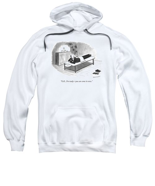A Man In A Suit Lays On A Massage Table Sweatshirt