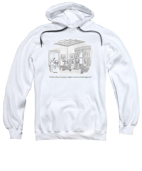 A Man, Looking Out His Living Room Window, Speaks Sweatshirt