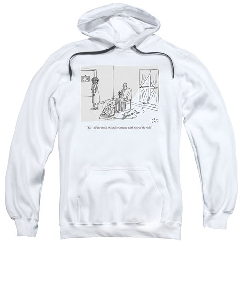 A Man Says To His Girlfriend While Sitting Sweatshirt