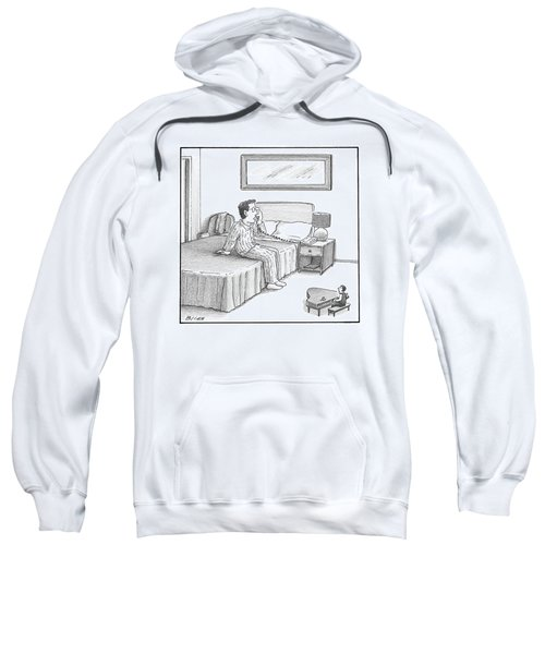 A Man Sits On A Hotel Bed And Speaks Sweatshirt