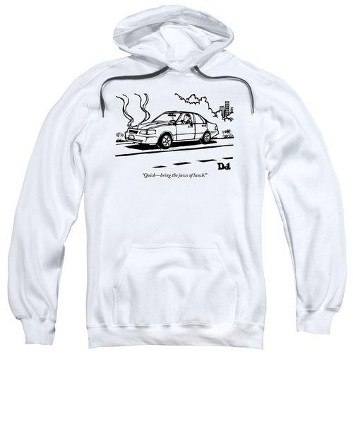 A Man Talks On His Cellphone In A Broken Down Car Sweatshirt