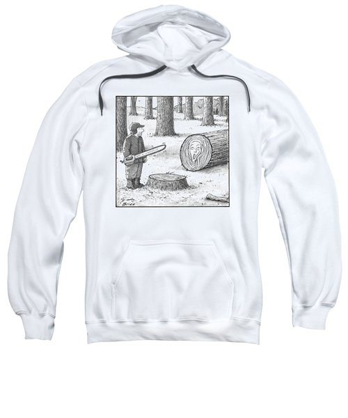 A Man Who Has Just Cut Down A Tree Sees That Sweatshirt