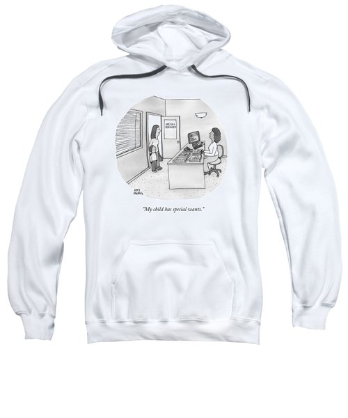 A Mother Brings Her Son Into A Room Labeled Sweatshirt
