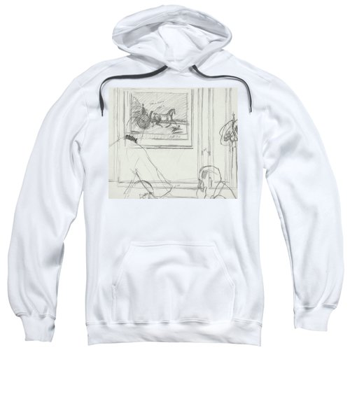 A Sketch Of A Horse Painting At A Bar Sweatshirt