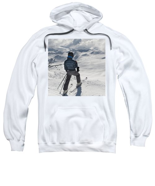 A Skier Pauses On The Trail To Look Out Sweatshirt