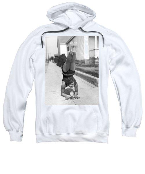 California Girl Imbibes Soda Upside Down Sweatshirt