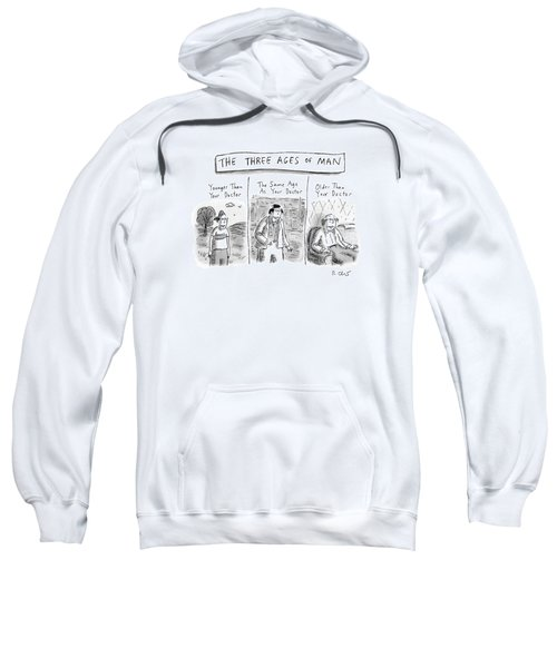 A Three Panel Images That Have Three Men: Sweatshirt