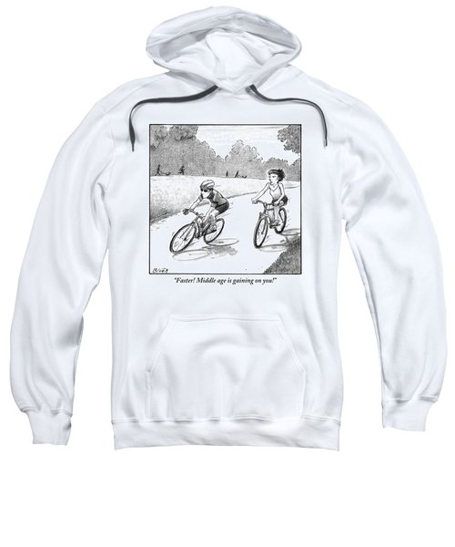 A Woman Casually Riding A Bicycle Addresses A Man Sweatshirt