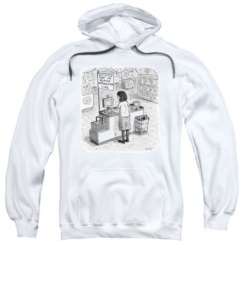 A Woman Checks Out Her Groceries At The Line Sweatshirt